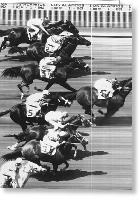 Race Horse Greeting Cards - Horse Racing At Los Alamitos Greeting Card by Underwood Archives