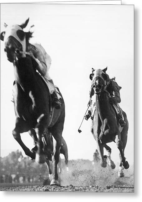 Win Greeting Cards - Horse Racing At Tanforan Track Greeting Card by Underwood Archives