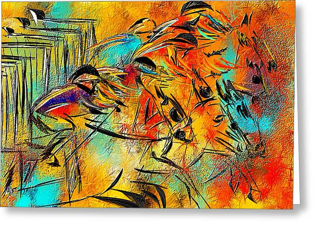 Race Horse Greeting Cards - Horse Racing Colorful Abstract  Greeting Card by Lourry Legarde