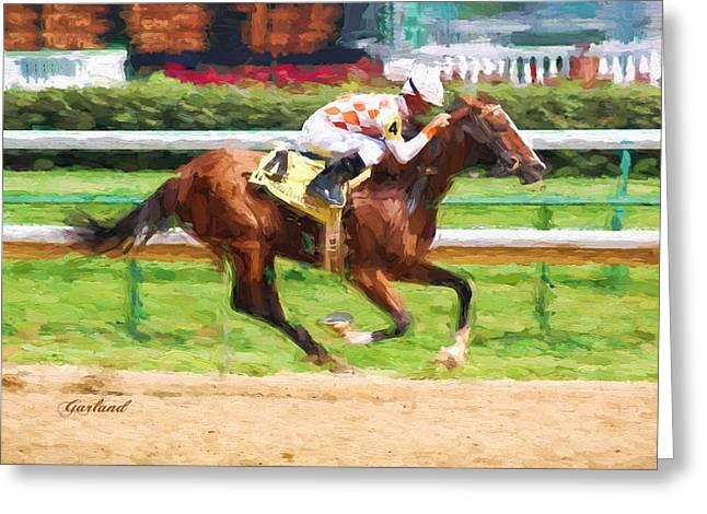 Quarter Horse Mixed Media Greeting Cards - Horse Racing Greeting Card by Garland Johnson