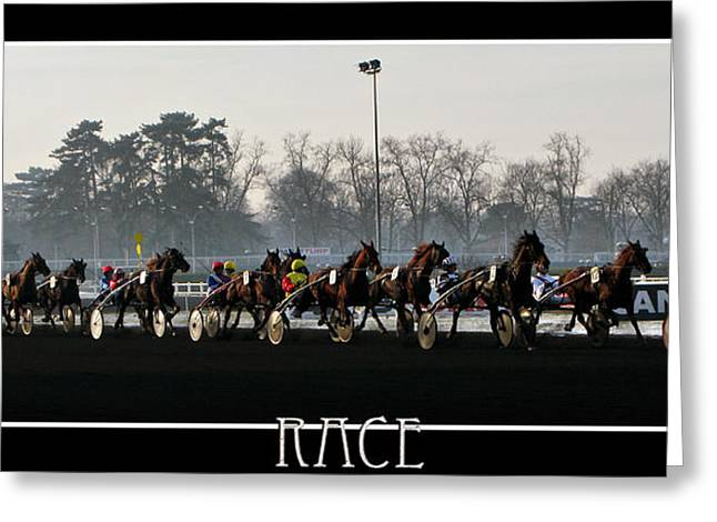 Vincennes Greeting Cards - Horse Racing - Hippodrome de Vincennes Paris Greeting Card by Daliana Pacuraru