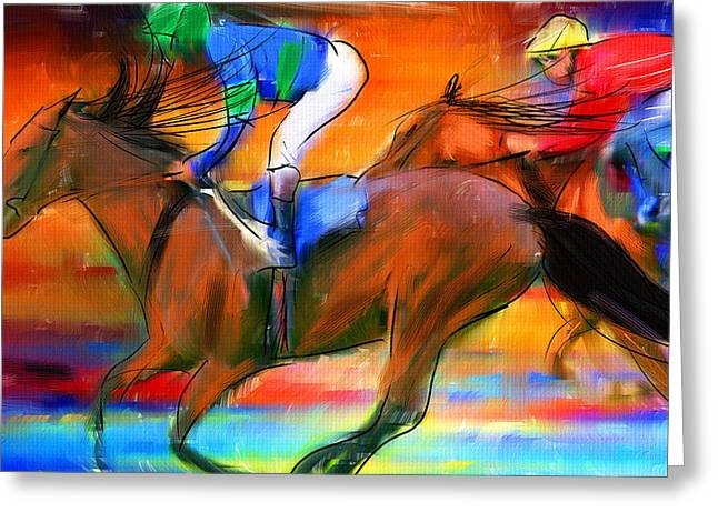 Race Horse Greeting Cards - Horse Racing II Greeting Card by Lourry Legarde