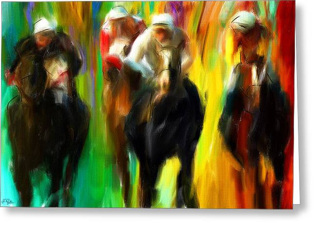 Race Horse Greeting Cards - Horse Racing III Greeting Card by Lourry Legarde
