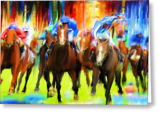 Race Horse Greeting Cards - Horse Racing Greeting Card by Lourry Legarde
