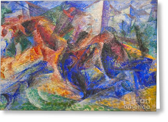 Umberto Boccioni Greeting Cards - Horse rider houses by Umberto Boccioni Greeting Card by Roberto Morgenthaler