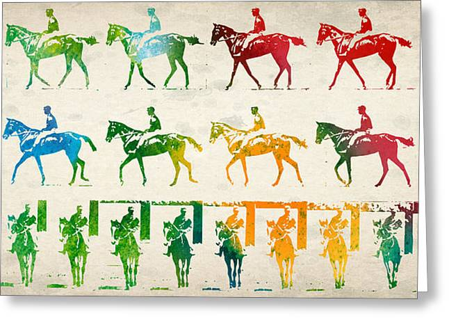 Horse Drawing Greeting Cards - Horse Rider Locomotion Greeting Card by Aged Pixel