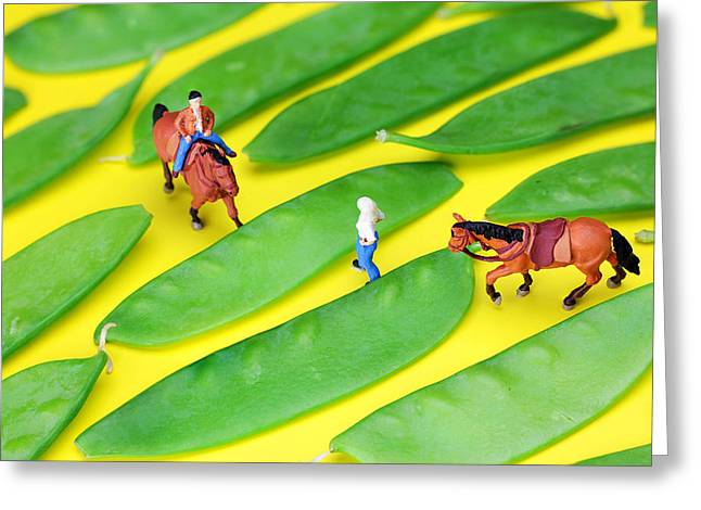 Green Beans Digital Art Greeting Cards - Horse riding on snow peas little people on food Greeting Card by Paul Ge