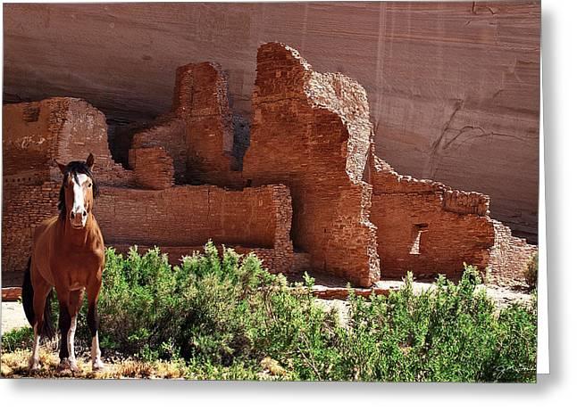 Julie Magers Soulen Greeting Cards - Horse Ruins in Canyon de Chelly Greeting Card by Julie Magers Soulen
