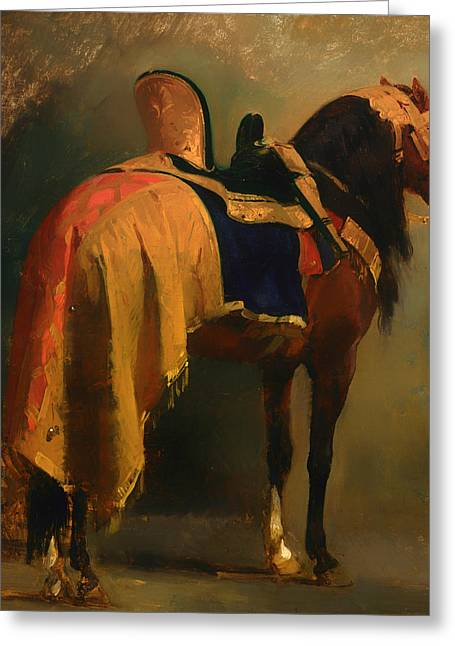 Classic Saddle Greeting Cards - Horse Saddled Greeting Card by Augustin Pils