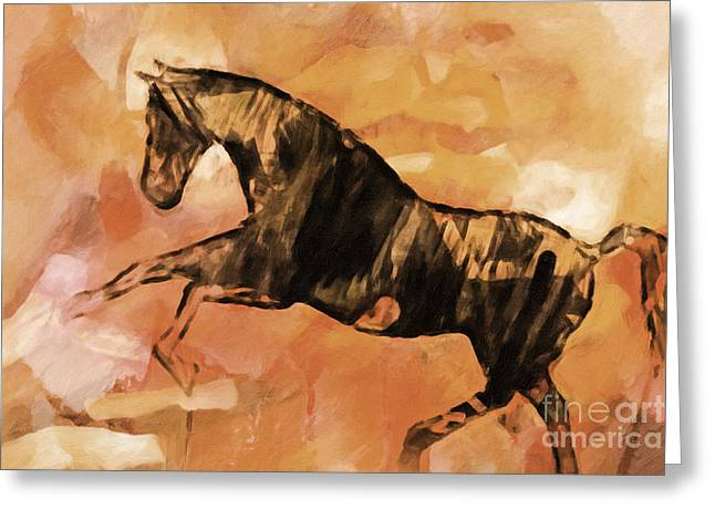 Hippos Greeting Cards - Horse Sepia Greeting Card by Lutz Baar