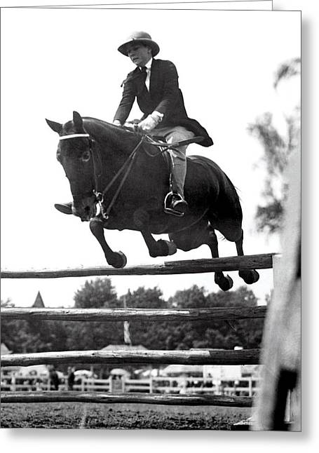 Horse Show Jump Greeting Card by Underwood Archives