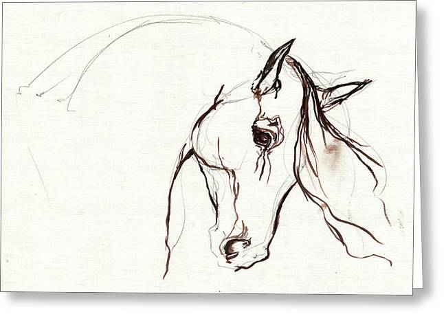 Horse Drawings Greeting Cards - Horse Sketch Greeting Card by Angel  Tarantella