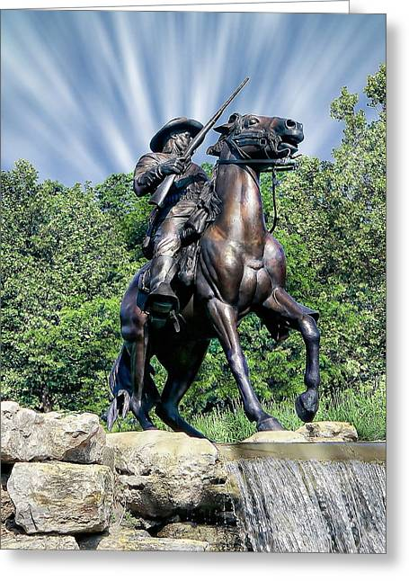 Noteworthy Greeting Cards - Horse Soldier Monument Greeting Card by Anthony Dezenzio