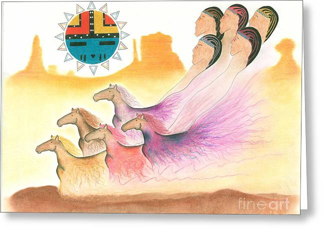 Hopi Drawings Greeting Cards - Horse Spirits Greeting Card by Peace Monger