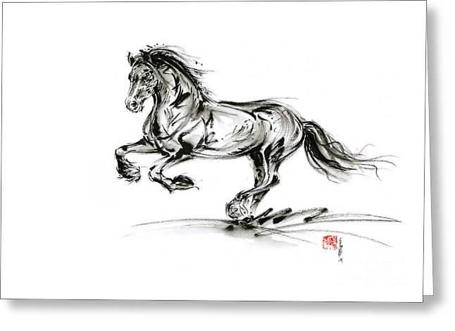 Horse Stallion Black Wild Animal 2014 Year Ink Painting Greeting Card by Mariusz Szmerdt