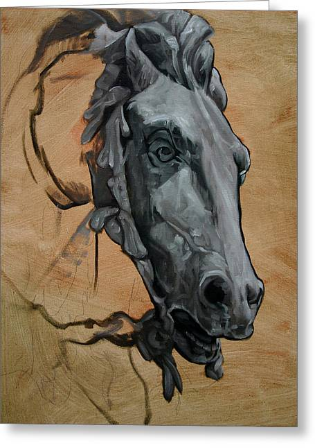 France Sculptures Greeting Cards - Horse Study of Barthaldi Fountain LL Greeting Card by Kathleen English-Barrett