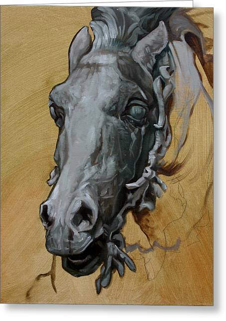 France Sculptures Greeting Cards - Horse Study of Bartholdi Fountain I Greeting Card by Kathleen English-Barrett