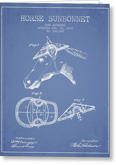 Tack Greeting Cards - Horse Sunbonnet patent from 1870 - Light Blue Greeting Card by Aged Pixel