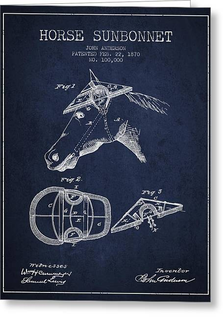 Tack Greeting Cards - Horse Sunbonnet patent from 1870 - Navy Blue Greeting Card by Aged Pixel