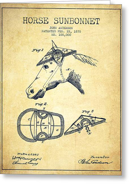 Tack Greeting Cards - Horse Sunbonnet patent from 1870 - Vintage Greeting Card by Aged Pixel