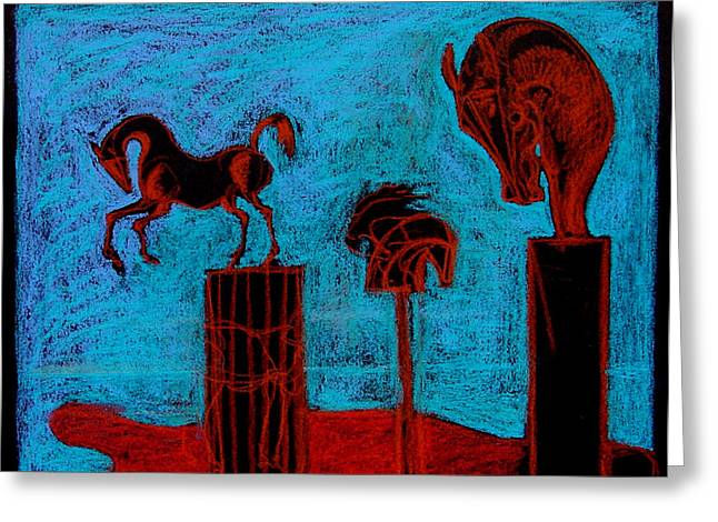 Greek Sculpture Pastels Greeting Cards - Horse Totems Greeting Card by House Brasil