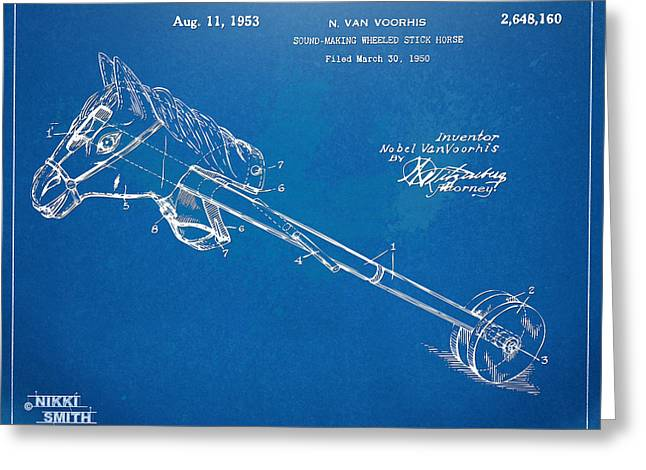 18th Century Greeting Cards - Horse Toy Patent Artwork 1953 Greeting Card by Nikki Marie Smith