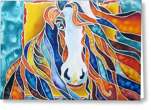 Equine Tapestries - Textiles Greeting Cards - Horse Greeting Card by Violetta Kurbanova