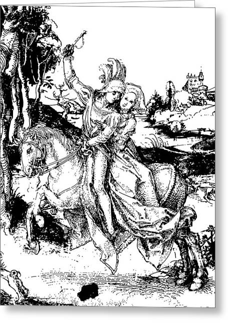 Horseback Riding Drawing Greeting Card by