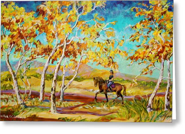 Next To Tree Greeting Cards - Horseback Riding in Fall  Greeting Card by Jan Mecklenburg
