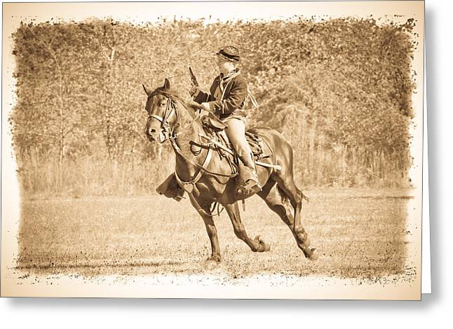 Confederate Flag Greeting Cards - Horseback Soldier Greeting Card by Steve McKinzie