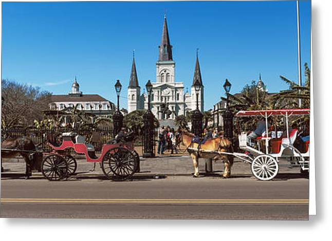 Horse Images Greeting Cards - Horsedrawn Carriages On The Road Greeting Card by Panoramic Images