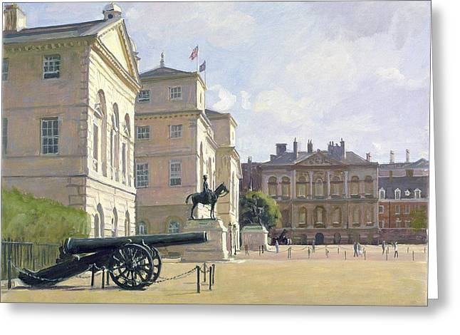Parades Greeting Cards - Horseguards Oil On Canvas Greeting Card by Julian Barrow