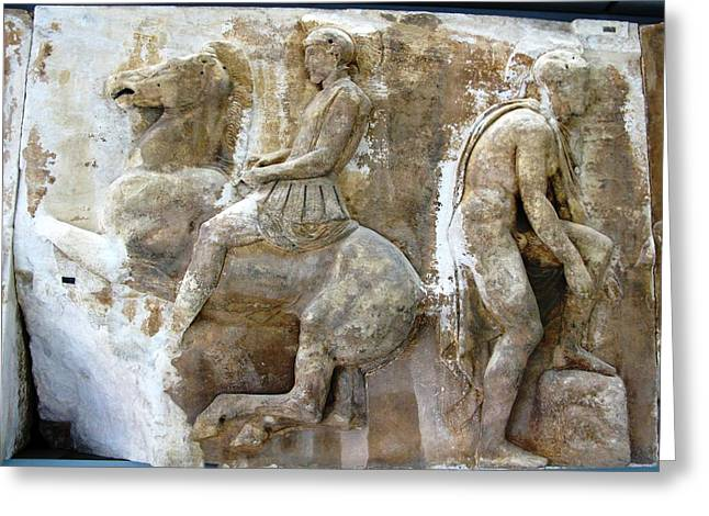 Greek Friezes Greeting Cards - Hoplite and a youth Greeting Card by Andonis Katanos