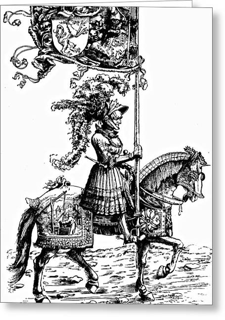 Middle Ages Drawings Greeting Cards - Horseman Durer Etching Greeting Card by