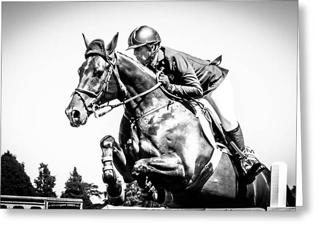 Showjumping Greeting Cards - Horsepower II Greeting Card by Jackie Bertolli