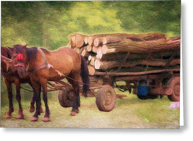 Pull Greeting Cards - Horsepower Greeting Card by Jeff Kolker