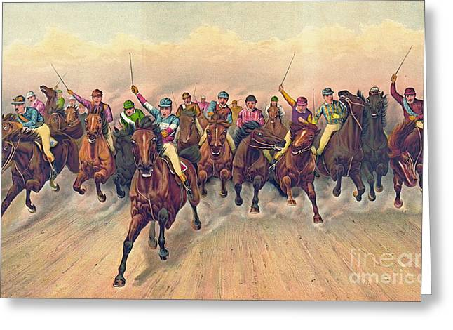 Horserace 1888 Greeting Card by Padre Art