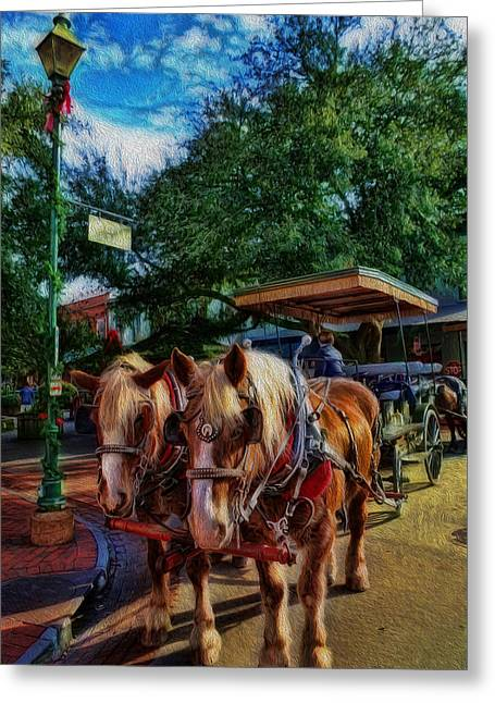 Equestrianism Greeting Cards - Horses - The Clydesdales in Christmas  Greeting Card by Lee Dos Santos