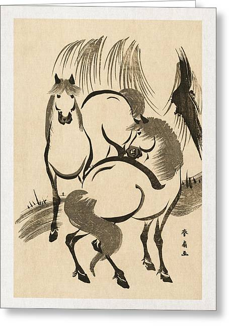 Horse Drawings Greeting Cards - Horses Greeting Card by Aged Pixel