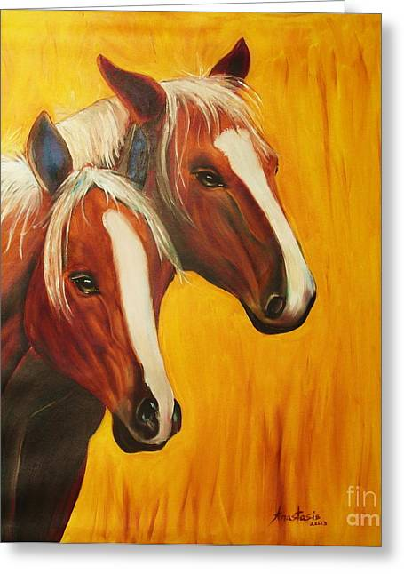 Wild Life Drawings Greeting Cards - Horses Greeting Card by Anastasis  Anastasi