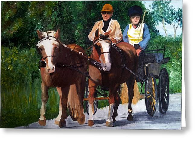 Horse And Cart Greeting Cards - Horses and Carriage Greeting Card by I F Abbie Shores