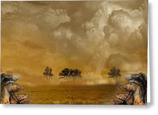 Storm Prints Digital Art Greeting Cards - Horses and Clouds Greeting Card by Dede Shamel Davalos