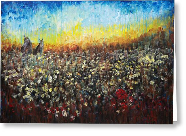 Nik Helbig Greeting Cards - Horses and Dandelions Greeting Card by Nik Helbig