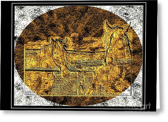 Brass Etching Greeting Cards - Horses -  Brass Etching Greeting Card by Barbara Griffin