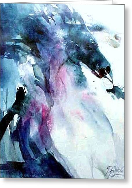 Therese Fowler-bailey Greeting Cards - Horses Break Free Greeting Card by Therese Fowler-Bailey
