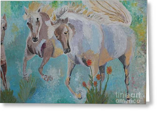 Modern Reliefs Greeting Cards - Horses from Camargue 2 Greeting Card by Vicky Tarcau