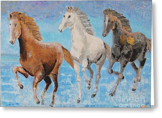Animals Reliefs Greeting Cards - Horses from Troy Greeting Card by Vicky Tarcau