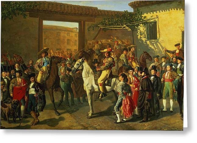 Elegant Photographs Greeting Cards - Horses In A Courtyard By The Bullring Before The Bullfight, Madrid, 1853 Oil On Canvas Detail Greeting Card by Manuel Castellano