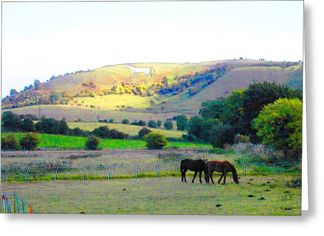 Horses In The English Countryside Greeting Card by Lenore Senior and Constance Widen