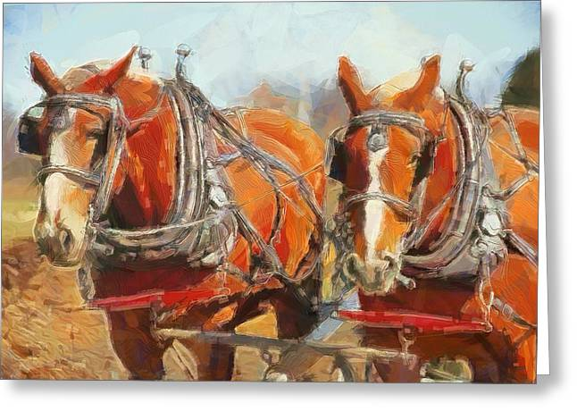 Horse Mixed Media Greeting Cards - Horses In The Field Greeting Card by Dan Sproul